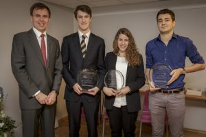 Tor E. Svensen, CEO of DNV GL – Maritime (far left), with the winners of the 2015 DNV GL Award for Young Professionals (from left to right, Alexander Iley, Eva Herradón de Grado and Damien Ducasse).