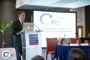 HE The Ambassador of Greece in the UK, Mr. Consatntinos Bikas opening the event