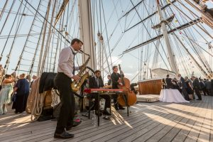 Band playing on the Cutty Sark's top deck