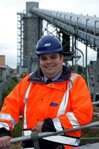 Craig Barbour at the biomass rail load-out facility in Hull (image courtesy of ABP/David Lee Photography