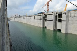 A view from the Agua Clara locks at Gatun on the Atlantic side entrance to the Panama Canal (Photo: Panama Canal Authority).