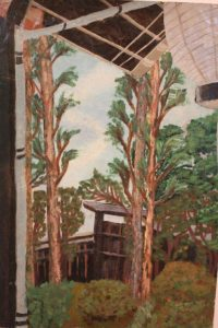 A scene with pine trees and a Lantern, by Onko Kamei, aged 15, Hiroshima Senior Girls' School.