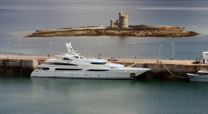 An IOM Superyacht in Douglas Harbour, Isle of Man