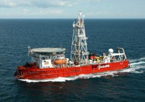 Fugro vessel undertaking geotechnical site investigation