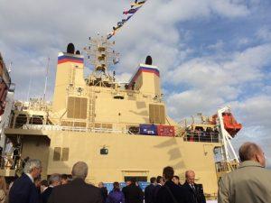 Flag raising ceremony onboard the icebreaker Vladivostok, St. Petersburg, 23 September 2015