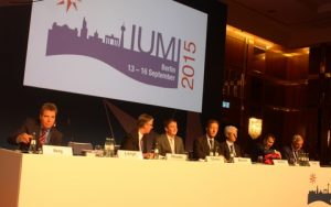 Platform party assembles at opening session of IUMI Berlin.