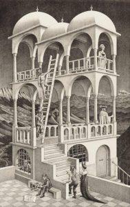 Belvedere, May 1958, lithograph. By MC Escher. Collection Gemeentemuseum DenHaag.