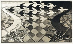 Day and Night, February 1938, woodcut in black and grey. By MC Escher.Collection Gemeentemuseum Den Haag.