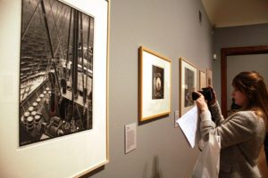 A gallery view of MC Escher's woodcuts Freighter, and Porthole.
