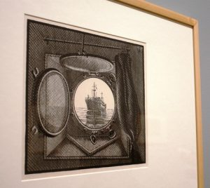 Porthole. Woodcut from two blocks. By MC Escher. Collection Gemeentemuseum Den Haag.