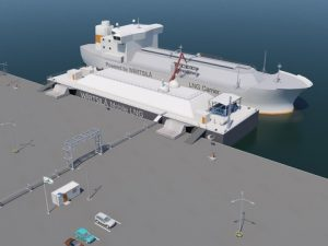 The LNG is transferred by a small scale LNG carrier