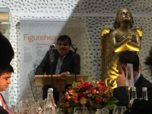 The minister Nitin Gadkari delivering his speech