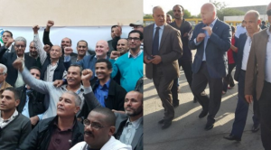 Cotton with (l) UMT leaders and workers and (r) at TRANSTU Tunisia