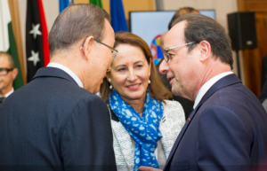 Secretary-General Ban Ki-moon (left) with President François Hollande (right) of France, and Ségolène Royal, Minister of Ecology, Sustainable Development and Energy of France. UN Photo/Rick Bajornas