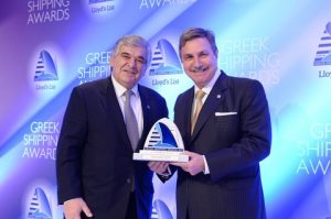 Lambros Chahalis from Bureau Veritas presented the Tanker Company of the Year Award to Anthony Papadimitriou for Olympic Shipping and Management