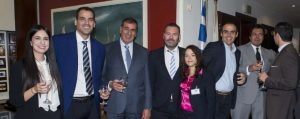 Chrysanthi Paplomata (American Club – Piraeus), Alex-Stavros Karidopoulos and Alex Karidopoulos (Estoril Navigation Ltd.), Alexis Angelopoulos (ACA Shipping Corp.), Maria Mavroudi (American Club – Piraeus)Paul Xiradakis (Megalochari Hellenic Tugboats Salvage & Towage) and George D. Gourdomichalis (Phoenix Shipping & Trading S.A.)