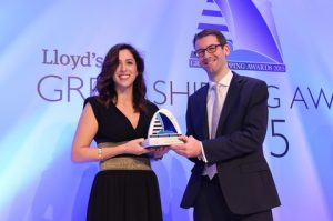 Irini Spanou accepting the Passenger Line of the Year Award from Richrd Meade, Editor of Lloyd's List