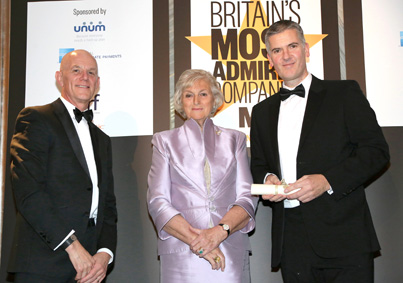 Martyn Ward, EVP of Operations, AVEVA and Alan Edwards, SVP of Marketing, AVEVA collect the Britain's Most Admired Company in the Software and Computer Services Sector award at Claridges, London.