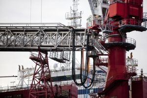 Offshore gangway in operation rig