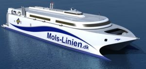 The new fast ferry 'KatExpress 3' being built for Danish operator Mols-Linien will be equipped with Wärtsilä waterjets and control system.