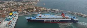 "The""Nissos Rodos"" during hte berthing manoeuvers"