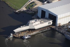 the USS Omaha during launch (photo courtesy of the Austal USA).