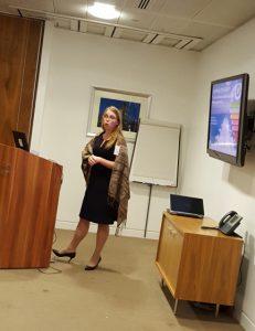 Phoebe Lewis speaking at WISTA-uk forum