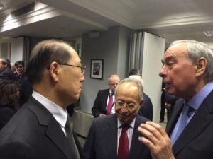 IMO's Secretary-General Kitack Lim and Thimio Mitropoulos listening  Simon Palio