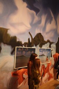 Jennifer in Paradise. Custom wallpaper and lenticular prints. By Constant Dullaart.