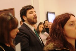 Curator Omar Kholeif briefs the press.