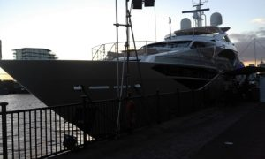 The largest ever boat to be globally launched at the Show - a 40.05m Sunseeker 131 Yacht berthed out on the dockside