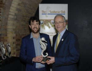 Joe Lo, 2015 Winner of the Seahorse Newcomer of the Year award receives his trophy and certificate from Andrew Huxley, Development Director - Europe, Middle East and Africa