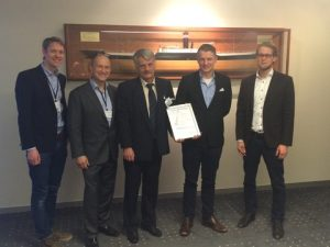 l to r: Arnt Reines and Øystein K. Sæther (middle and second from right) of VARD Engineering Brevik AS receive the approval certificate from DNV GL's Pål Spilleth, Magnus Lindgren and Jonas Broström