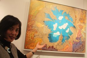 Sarah Choi with her painting London London London.
