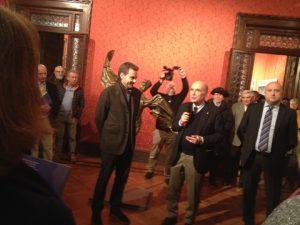 Vitto Abba (Open Art Code), Ivano Masiero and Paulo Guasco from Banca Intermobilare di Investimenti e Gestioni, sponsors of the exhibition
