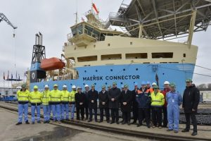 From the ceremony infront of the Maersk Connector
