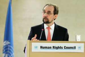 UN High Commissioner for Human Rights Zeid Ra'ad Al Hussein speaks during opening of session of the Human Rights Council. UN Photo/Pierre Albouy