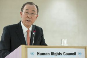 Ban Ki-moon at the opening of the 31st session of the UN Human Rights Council, and the High-level panel discussion on human rights mainstreaming. UN Photo/Jean-Marc Ferré