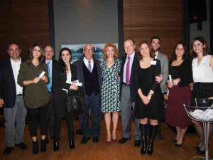 l to r: Mr. A. Glykas, Mr. N. Pappadakis, Capt. P. Tsakos, Mrs. Z. Tsavliris, Mr. G. Tsavliris, Ms. I. Notias, Ms. K. Galouka and the winners of the Internships and Office Visits