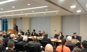 Sesion 1, the panel with Duncan Matthews QC at the podium delivering his speed