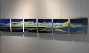 """The six-piece """"Borealis 6"""" - Acrylic on canvas; each canvas 30 x 30cm"""