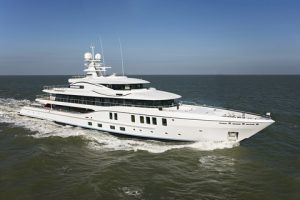 The new 74-metre AMELS 242 during her trials