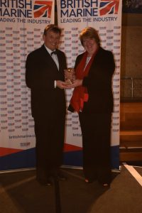 Best Marine Company to Work for - L-R Mike Carr Pendennis & Fiona Pankhurst British Marine