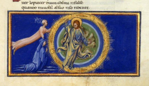 Dante and Beatrice ascend to the ninth heaven of paradise, the Primum Mobile. Giovanni di Paolo. C The British Library Board, Yates-Thompson MS 36, fol. 178r