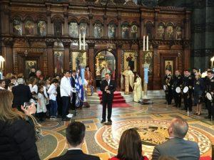 The Greek Ambassador delivering his speech