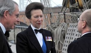 Her Royal Highness The Princess Royal attending INEC 2010 with (left) IMarEST President in 2010, Rear Admiral Nigel Guild CB FREng and Cdre John Newell MBE RN, who was then Chairman of the INEC Technical Advisory Committee; both are Patrons of INEC 2016.