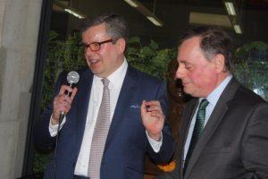 Prof Kevin Featherstone (left) and Greek Ambassador Bikas.