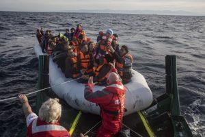 Migrants landing at Lesvos Island
