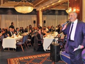 The president of the Chios Marine Club Markos Tripolitis addressing the guests