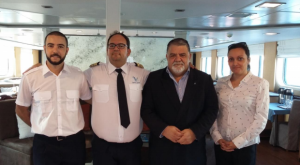 Andrew Lliso, Capt. Vasilis Panagiotou, Capt. Antonio M. Padrón and Ms. Dácil Barreto